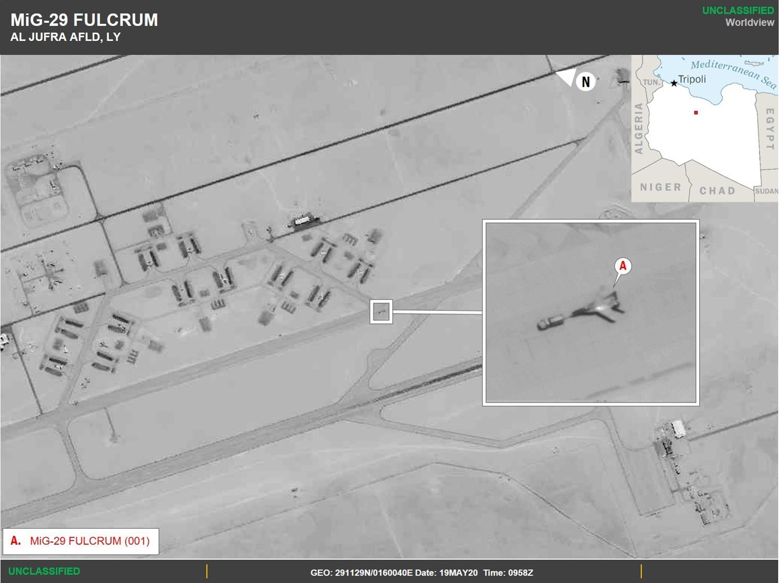 Das Afrika-Kommando zeigt Bilder der libyschen Luftwaffenbasis Al-Dschufra vom 19. Mai dieses Jahres.