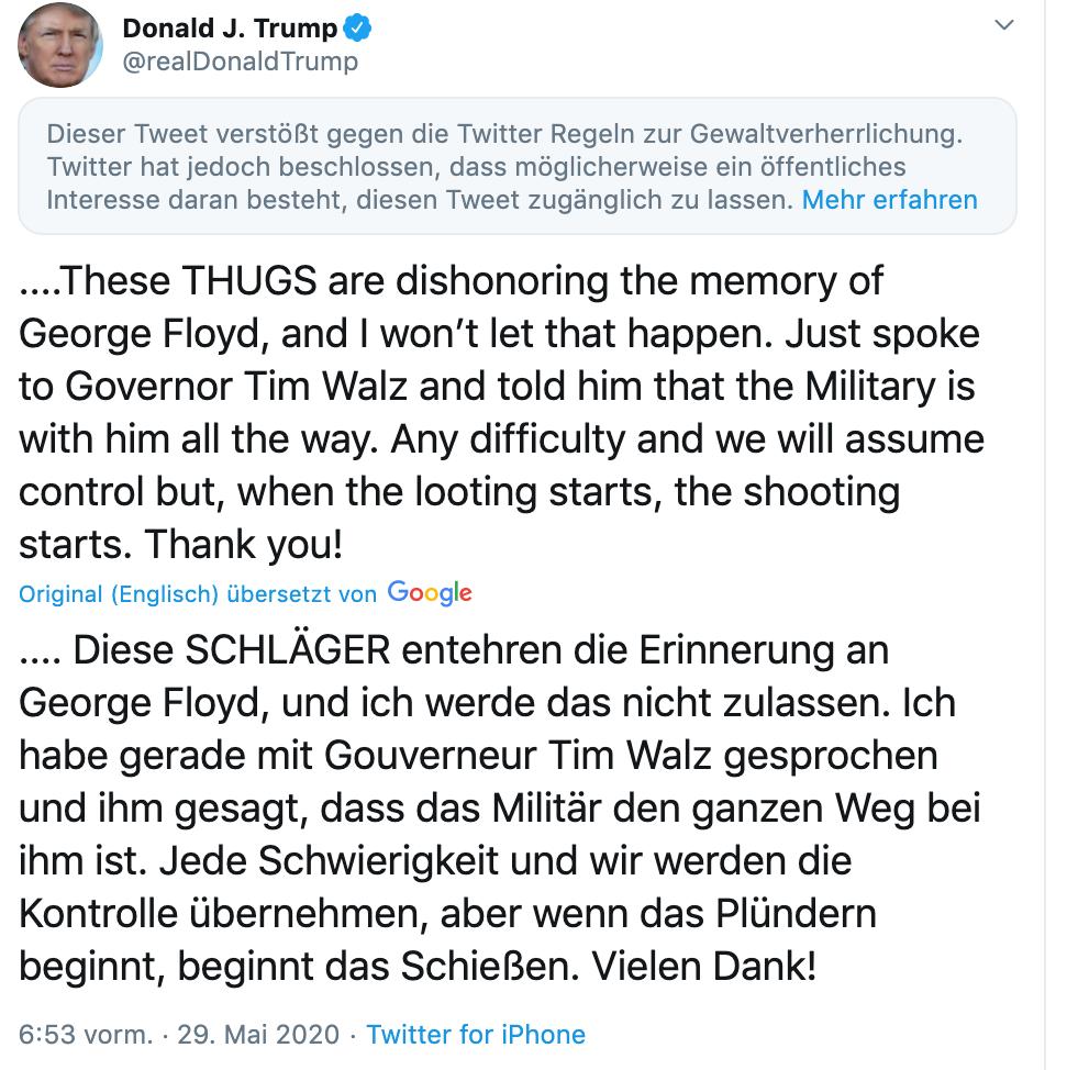 Screenshot von Donald Trumps Twitter-Auftritt.