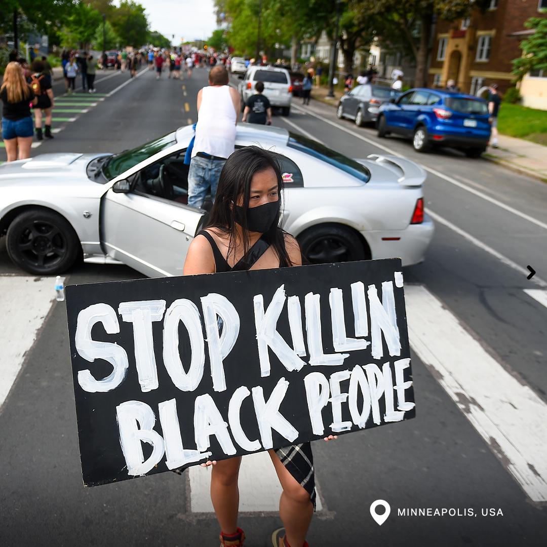 Protest auf den Straßen von Minneapolis, USA