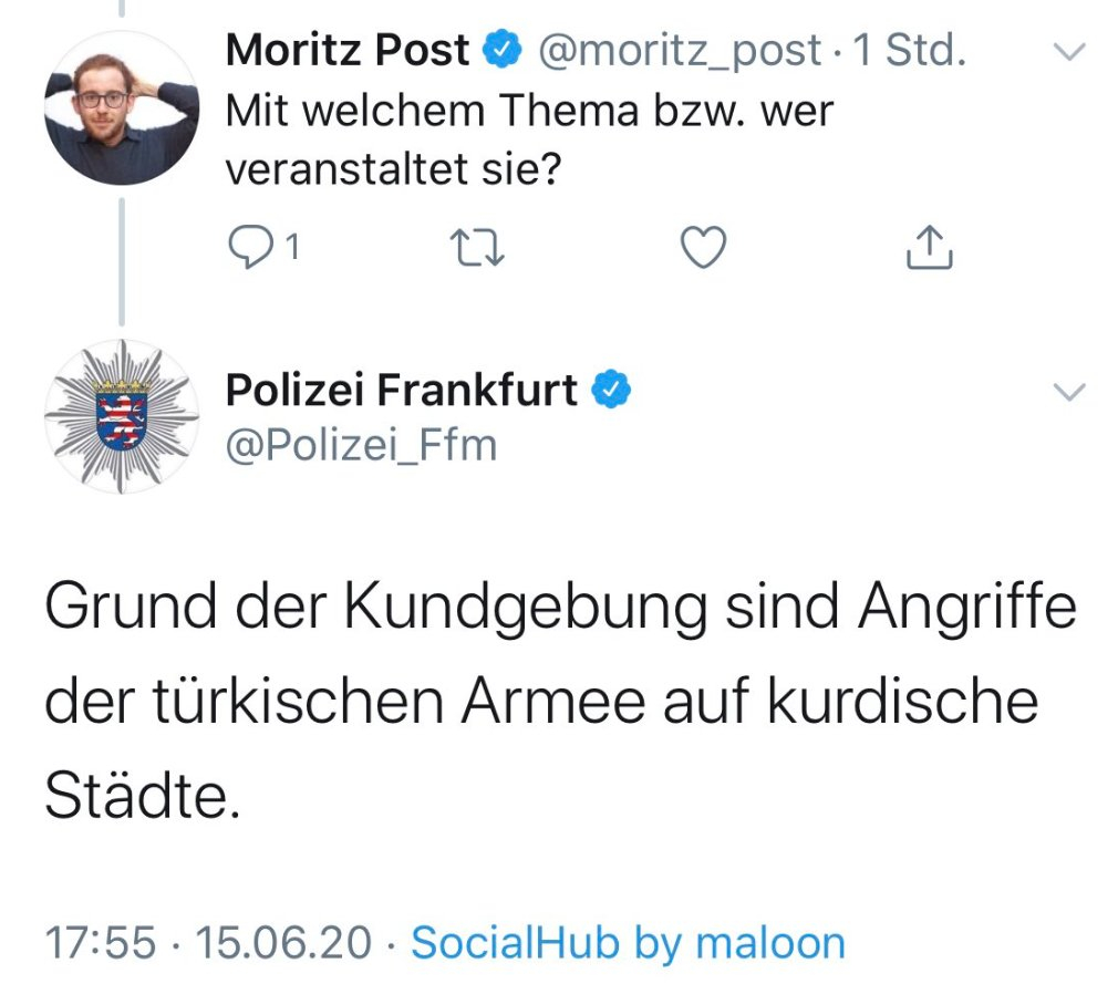 Tweet der Polizei Frankfurt hat für Eklat gesorgt.