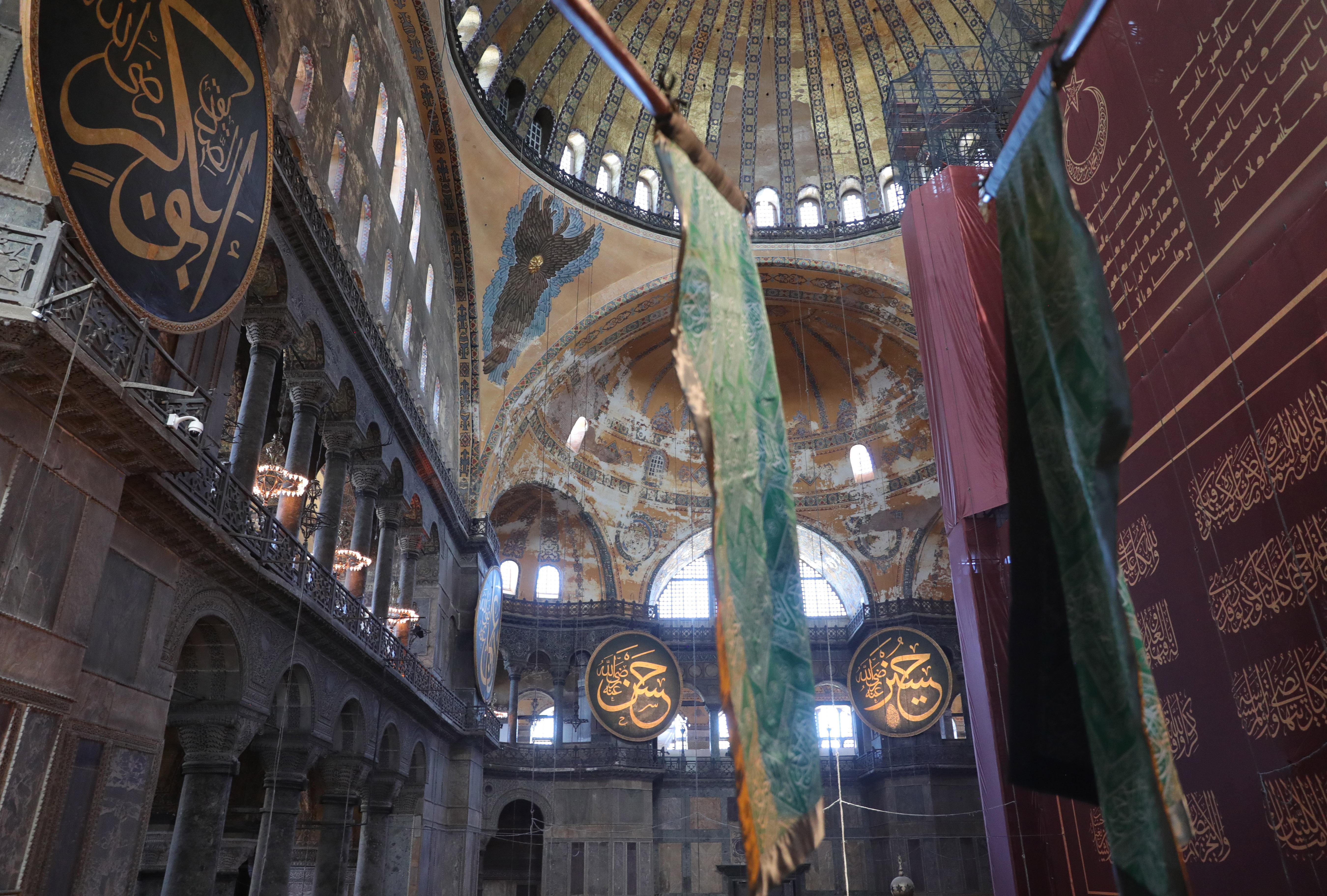 Blick auf die Kuppel der Hagia-Sophia-Moschee.